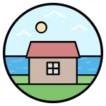 DataLakeHouse logo showing a lakehouse with a grass yard and blue sky with the sun shining in the background within a circle